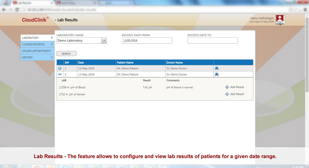 Lab results, The feature allows to configure lab results of patients online, Cloud Based EMR