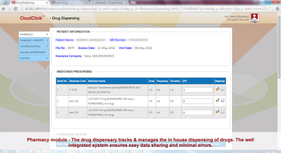 Pharmacy module, The drug dispensary tracks & manages the in house dispensing of drugs, well integrated system, ehealth